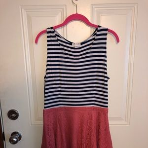Navy / Coral Charming Charlie's L Dress
